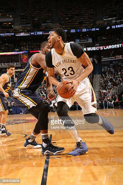 Anthony Davis of the New Orleans Pelicans handles the ball against the Utah Jazz on February 10 2016 at the Smoothie King Center in New Orleans...