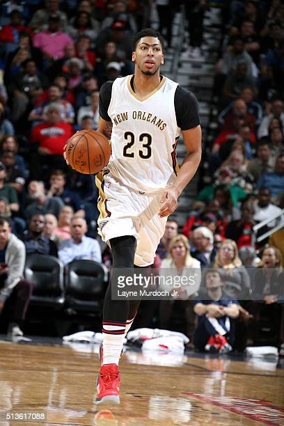 Anthony Davis of the New Orleans Pelicans handles the ball during the game against the San Antonio Spurs on March 3 2016 at the Smoothie King Center...