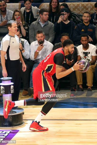 Anthony Davis of the New Orleans Pelicans handles the ball during the Taco  Bell Skills Challenge 9e9717b69