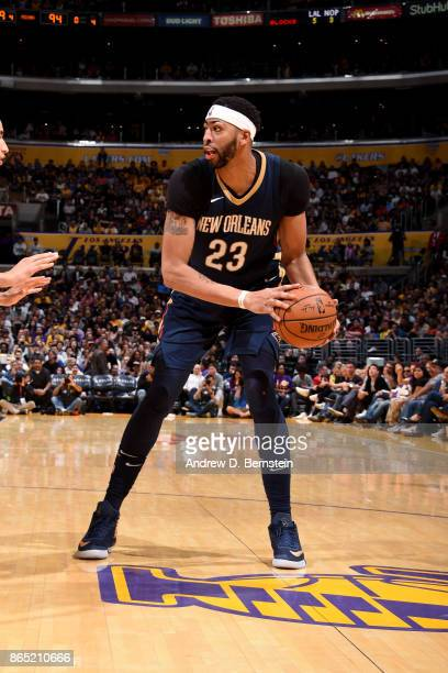 Anthony Davis of the New Orleans Pelicans handles the ball during the game against the Los Angeles Lakers on October 22 2017 at STAPLES Center in Los...