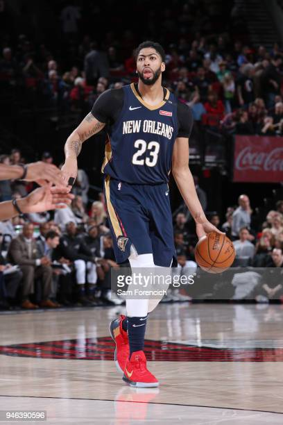 Anthony Davis of the New Orleans Pelicans handles the ball during the game against the Portland Trail Blazers in Game One of Round One of the 2018...