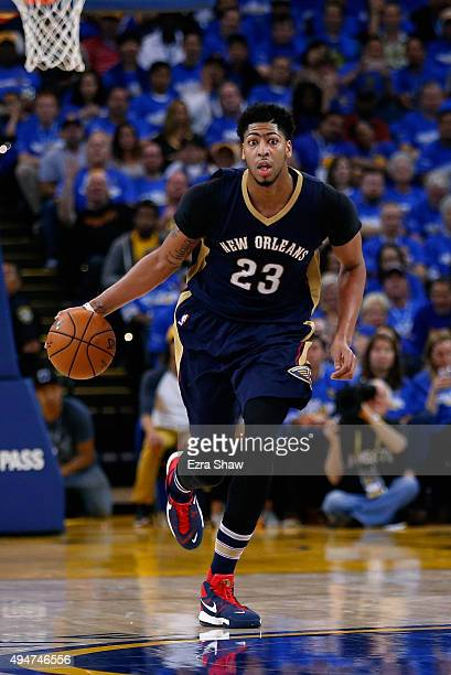 Anthony Davis of the New Orleans Pelicans in action against the Golden State Warriors at ORACLE Arena on October 27 2015 in Oakland California NOTE...