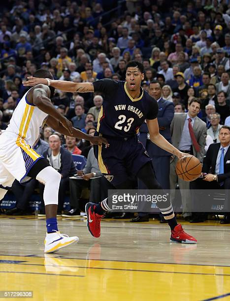 Anthony Davis of the New Orleans Pelicans in action against the Golden State Warriors at ORACLE Arena on March 14 2016 in Oakland California NOTE TO...