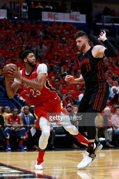 Anthony Davis of the New Orleans Pelicans is defended by Jusuf Nurkic of the Portland Trail Blazers during Game 3 of the Western Conference playoffs...