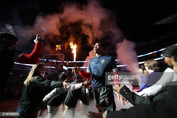 Anthony Davis of the New Orleans Pelicans is introduced before the game against the Portland Trail Blazers on March 18 2016 at Smoothie King Center...