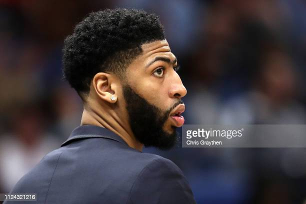 Anthony Davis of the New Orleans Pelicans looks on against the Detroit Pistons at Smoothie King Center on January 23 2019 in New Orleans Louisiana...