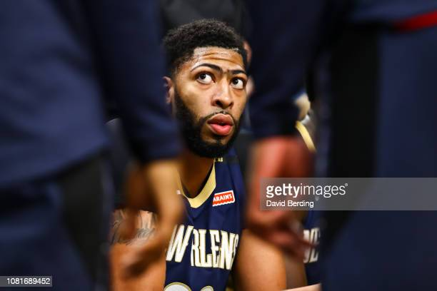 Anthony Davis of the New Orleans Pelicans looks on during a timeout in the first quarter during the game against the Minnesota Timberwolves at Target...