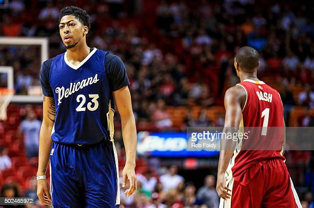 Anthony Davis of the New Orleans Pelicans looks on during the first half of the game against the Miami Heat at American Airlines Arena on December 25...