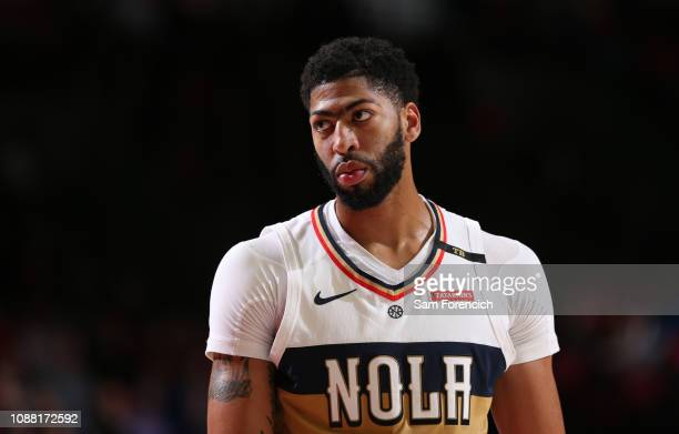 Anthony Davis of the New Orleans Pelicans looks on during the game against the Portland Trail Blazers on January 18 2019 at the Moda Center Arena in...