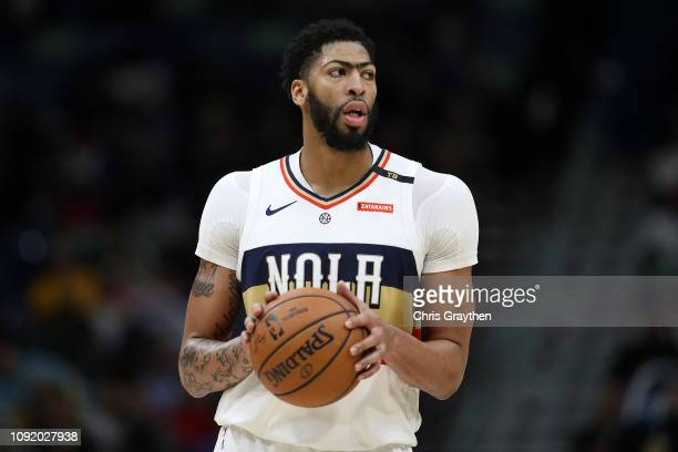 Anthony Davis of the New Orleans Pelicans looks on during the game against the Cleveland Cavaliers at Smoothie King Center on January 09 2019 in New...