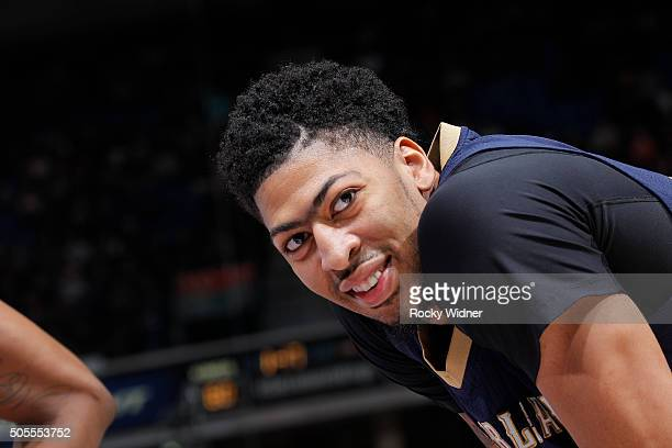 Anthony Davis of the New Orleans Pelicans looks on during the game against the Sacramento Kings on January 13 2016 at Sleep Train Arena in Sacramento...