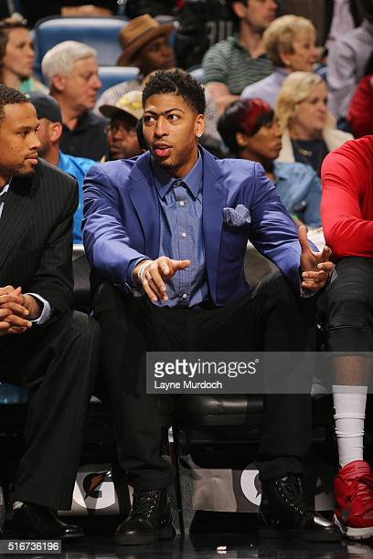 Anthony Davis of the New Orleans Pelicans looks on during the game against the Los Angeles Clippers on March 20 2016 at Smoothie King Center in New...