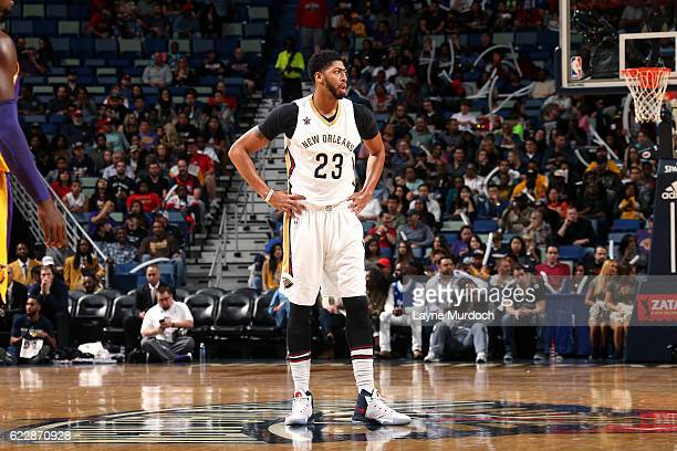 Anthony Davis of the New Orleans Pelicans looks on during the game against the Los Angeles Lakers game on November 12 2016 at the Smoothie King...