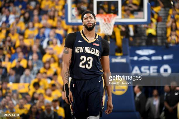 Anthony Davis of the New Orleans Pelicans looks on during the game against the Golden State Warriors in Game Five of the Western Conference...