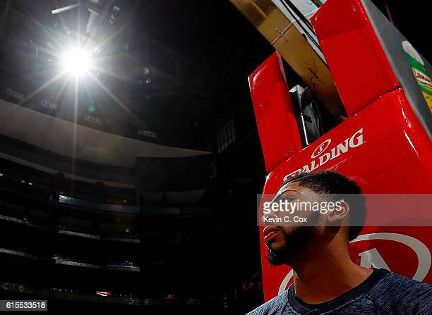 Anthony Davis of the New Orleans Pelicans looks on prior to the game against the Atlanta Hawks at Philips Arena on October 18 2016 in Atlanta Georgia...