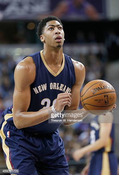 Anthony Davis of the New Orleans Pelicans looks to shoot a free throw shot against the Sacramento Kings at Sleep Train Arena on November 18, 2014 in...