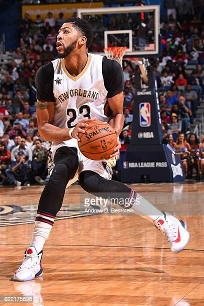 Anthony Davis of the New Orleans Pelicans loos to shoot the ball during a game against the Golden State Warriors at Smoothie King Center on October...