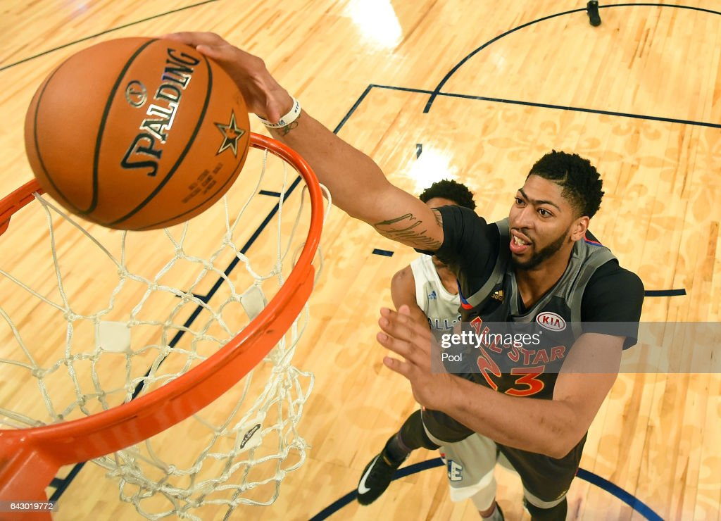 Anthony Davis #23 of the New Orleans Pelicans makes a slam dunk in the first half during the 2017 NBA All-Star Game at Smoothie King Center on February 19, 2017 in New Orleans, Louisiana.