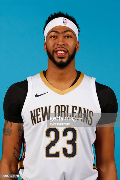 Anthony Davis of the New Orleans Pelicans poses for a head shot during media day on September 25 2017 at Smoothie King Center in New Orleans...
