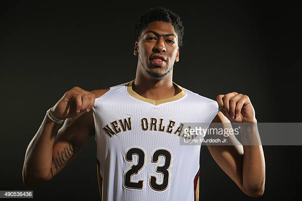 Anthony Davis of the New Orleans Pelicans poses for photos during NBA Media Day on September 28 2015 at the New Orleans Pelicans practice facility in...