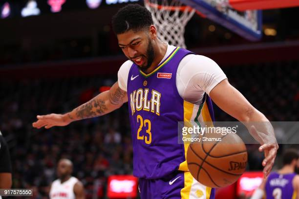 Anthony Davis of the New Orleans Pelicans reacts after a foul call while playing the Detroit Pistons at Little Caesars Arena on February 12 2018 in...