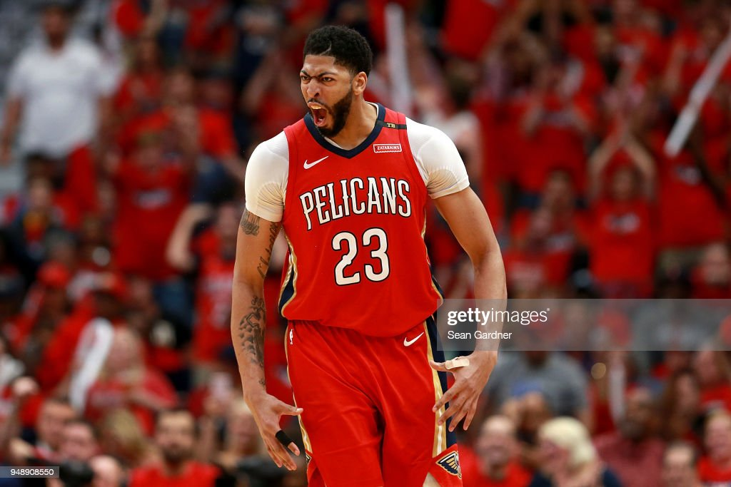Anthony Davis Of The New Orleans Pelicans Reacts After