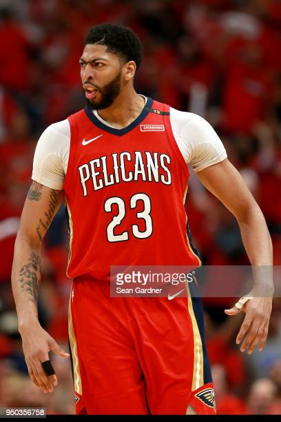 Anthony Davis of the New Orleans Pelicans reacts after scoring during Game 3 of the Western Conference playoffs against the Portland Trail Blazers at...