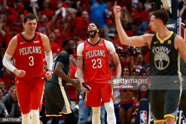 Anthony Davis of the New Orleans Pelicans reacts after scoring against the Golden State Warriors during the second half of Game Three of the Western...