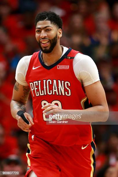 Anthony Davis of the New Orleans Pelicans reacts after scoring against the Golden State Warriors during Game Three of the Western Conference...