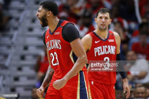 Anthony Davis of the New Orleans Pelicans reacts during a game against the Sacramento Kings at the Smoothie King Center on October 19 2018 in New...