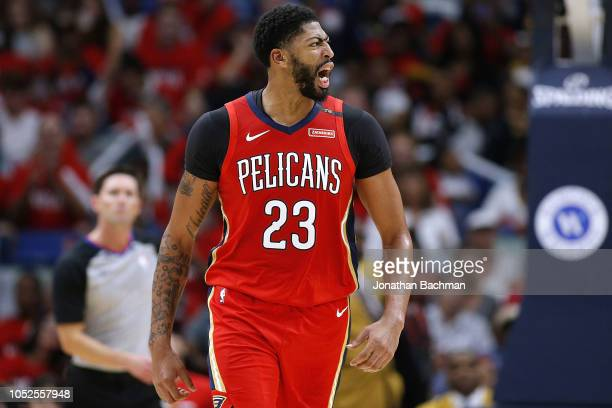 Anthony Davis of the New Orleans Pelicans reacts during the first half against the Sacramento Kings at the Smoothie King Center on October 19 2018 in...