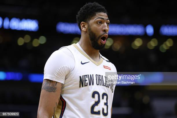 Anthony Davis of the New Orleans Pelicans reacts during the first half against the Los Angeles Lakers at the Smoothie King Center on March 22 2018 in...