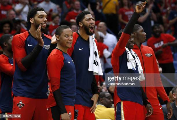 Anthony Davis of the New Orleans Pelicans reacts during the second half against the Sacramento Kings at the Smoothie King Center on October 19 2018...