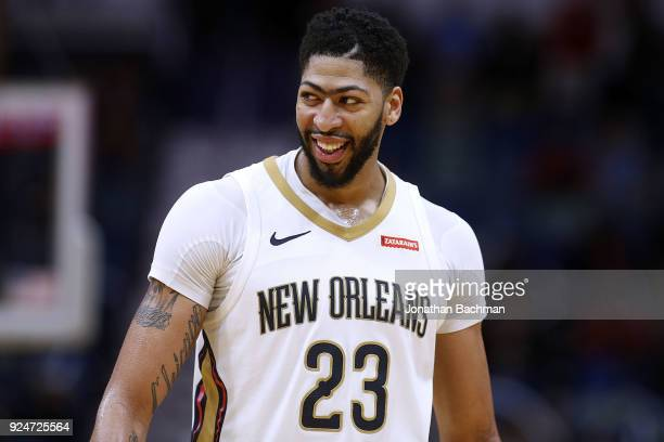 Anthony Davis of the New Orleans Pelicans reacts during the second half against the Phoenix Suns at the Smoothie King Center on February 26 2018 in...