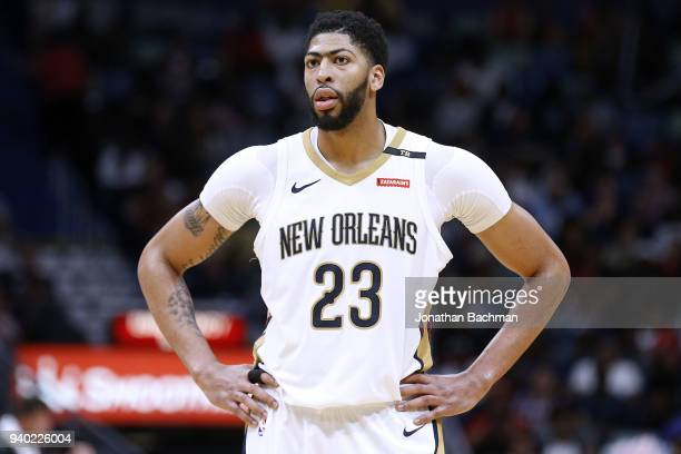 Anthony Davis of the New Orleans Pelicans reacts during the second half against the Portland Trail Blazers at the Smoothie King Center on March 27...