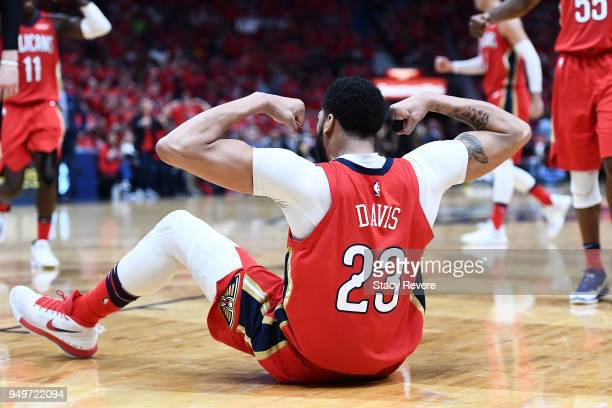 Anthony Davis of the New Orleans Pelicans reacts to a foul by the Portland Trail Blazers during the second half of Game Four of the first round of...