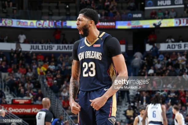 Anthony Davis of the New Orleans Pelicans reacts to a play during the game against the Dallas Mavericks on December 28 2018 at the Smoothie King...