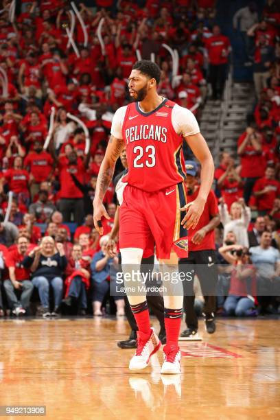 Anthony Davis of the New Orleans Pelicans reacts to a play during the game against the Portland Trail Blazers in Game Three of Round One of the 2018...