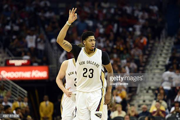 Anthony Davis of the New Orleans Pelicans reacts to a three point shot during the second half of a game against the Golden State Warriors at the...