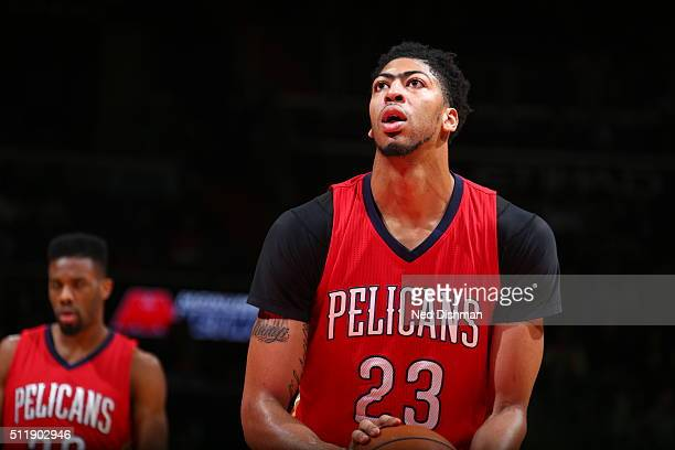 Anthony Davis of the New Orleans Pelicans shoots a free throw against the Washington Wizards on February 23 2016 at Verizon Center in Washington DC...