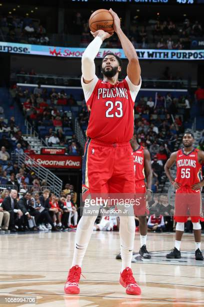 Anthony Davis of the New Orleans Pelicans shoots a free throw during the game against the Chicago Bulls on November 7 2018 at the Smoothie King...