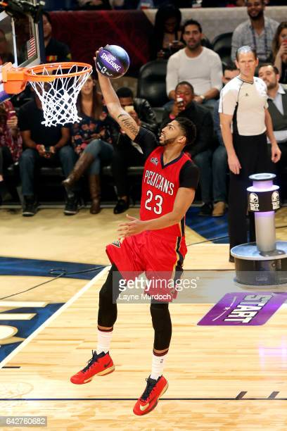 a07a560e7 Anthony Davis of the New Orleans Pelicans shoots a lay up during the Taco  Bell Skills