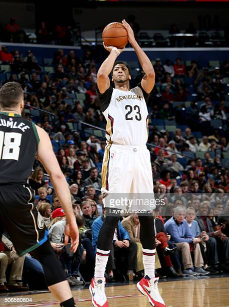 Anthony Davis of the New Orleans Pelicans shoots against the Milwaukee Bucks on January 23 2016 at the Smoothie King Center in New Orleans Louisiana...