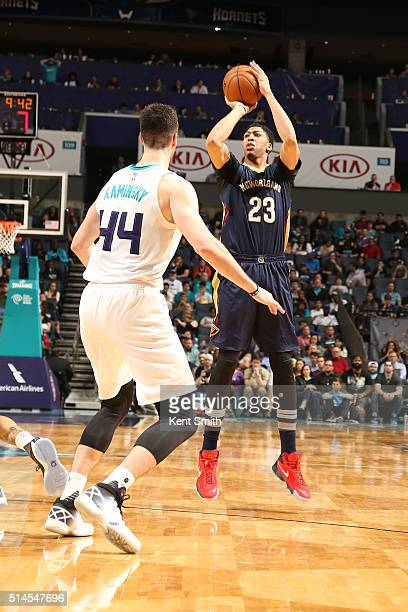 Anthony Davis of the New Orleans Pelicans shoots against the Charlotte Hornets on March 9 2016 at Time Warner Cable Arena in Charlotte North Carolina...