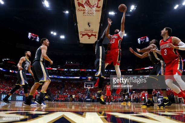 Anthony Davis of the New Orleans Pelicans shoots over Draymond Green of the Golden State Warriors during the first half of Game Four of the Western...