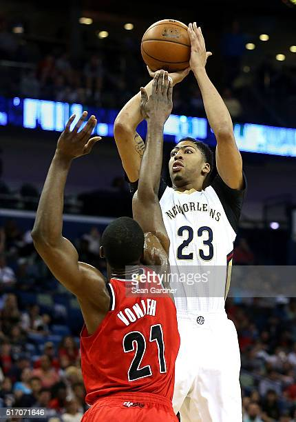 Anthony Davis of the New Orleans Pelicans shoots over Noah Vonleh of the Portland Trail Blazers during the first half at the Smoothie King Center on...