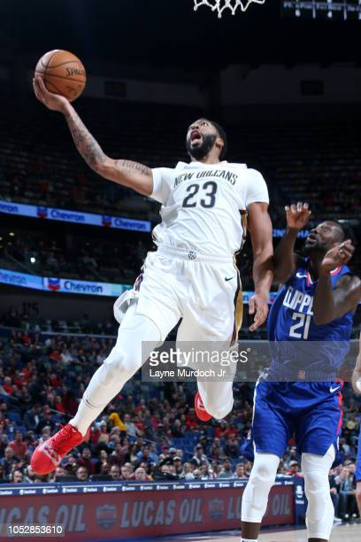 Anthony Davis of the New Orleans Pelicans shoots the ball against the LA Clippers on October 23 2018 at Smoothie King Center in New Orleans Louisiana...