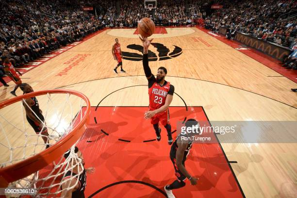 Anthony Davis of the New Orleans Pelicans shoots the ball against the Toronto Raptors on November 12 2018 at Scotiabank Arena in Toronto Ontario...