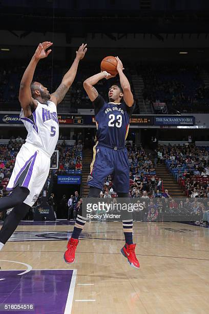 Anthony Davis of the New Orleans Pelicans shoots the ball against the Sacramento Kings on March 16 2016 at Sleep Train Arena in Sacramento California...