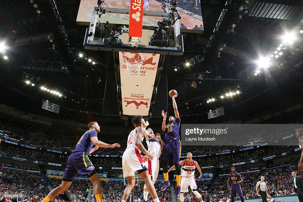 Anthony Davis #23 of the New Orleans Pelicans shoots the ball against the Washington Wizards during the game on January 29, 2017 at Smoothie King Center in New Orleans, Louisiana.
